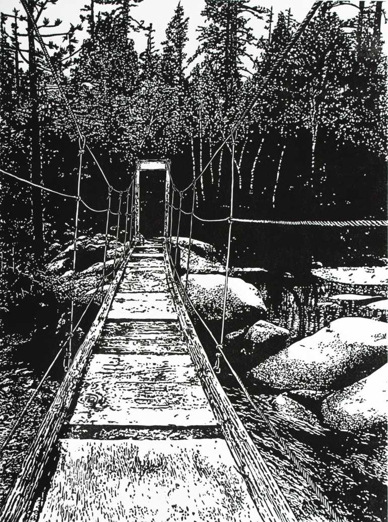 Swinging Bridge at Wawona – Yosemite  (December 2015, 24″ x 18″, linocut)